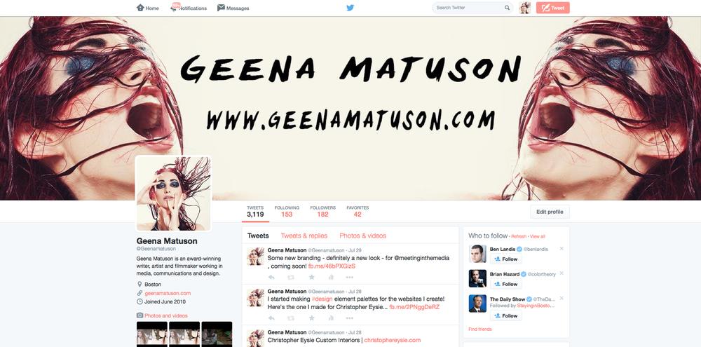 Geena Matuson's previous branding, as displayed on Twitter, 2014.