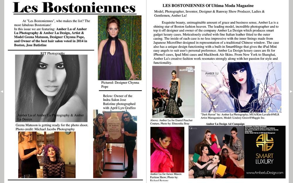 Geena Matuson (lower-left) featured in Ultima Moda Magazine, Winter 2015 Issue.