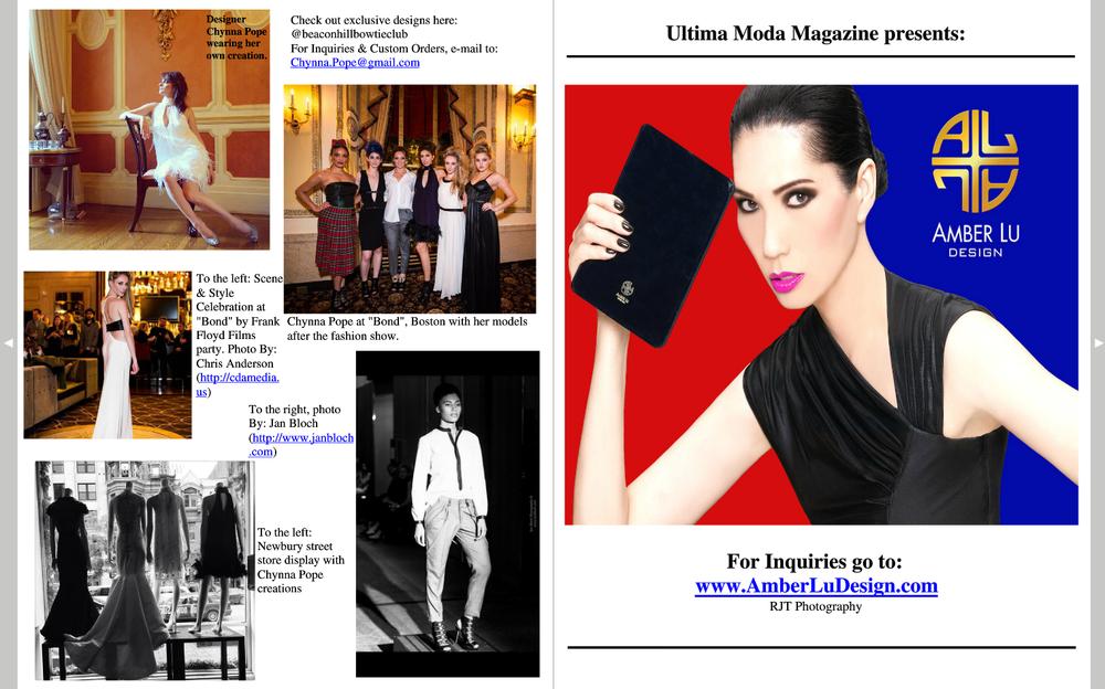 Geena Matuson (top-middle) featured in Ultima Moda Magazine, Winter 2015 Issue.