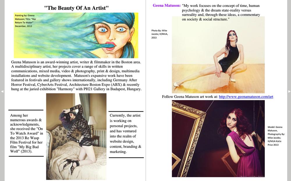 Geena Matuson (two-page spread) featured in Ultima Moda Magazine, Winter 2015 Issue.