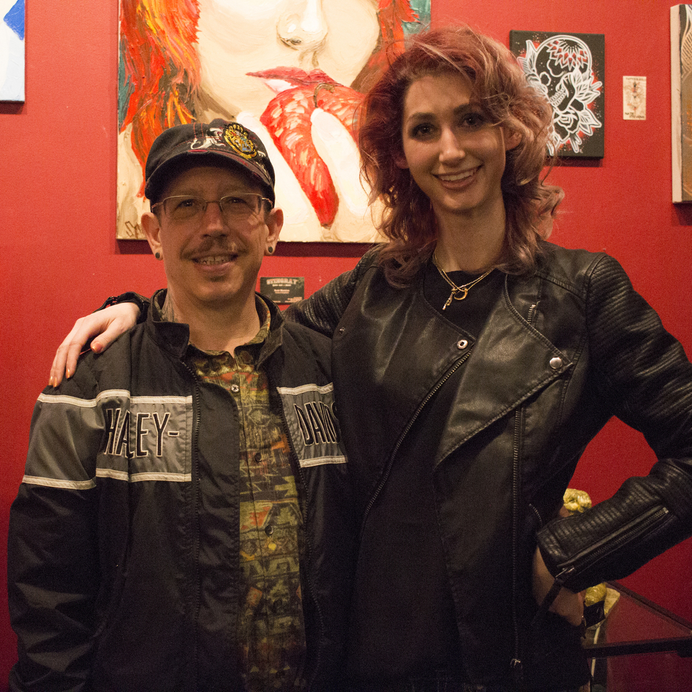 Scott Matalon and Geena Matuson, Stingray Body Art Tattoo Artist Art Show, March 2016.