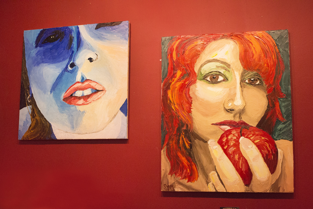 Paintings by Scott Matalon of Stingray Body Art, 2016. Portrait on right depicts artist Geena Matuson.