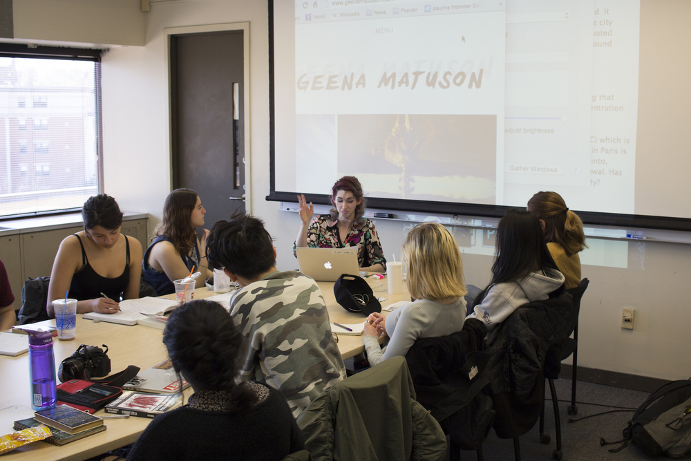 Geena Matuson guest lectures with Max Grinnell's freshman class at MassArt, April 2016.