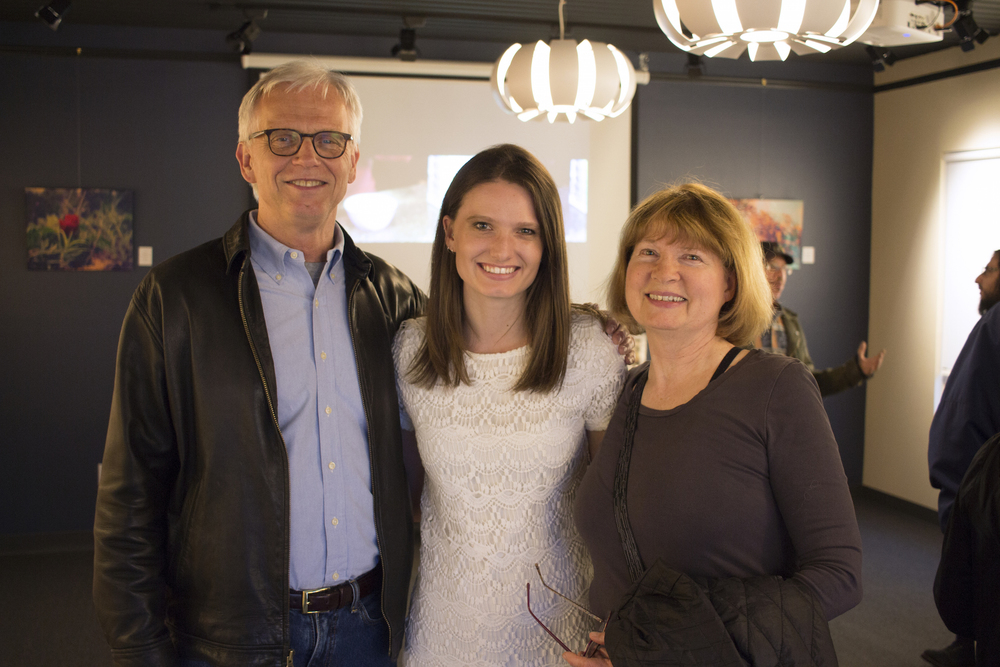 Alex James and family at Geena Matuson's solo show reception. April, 2016.