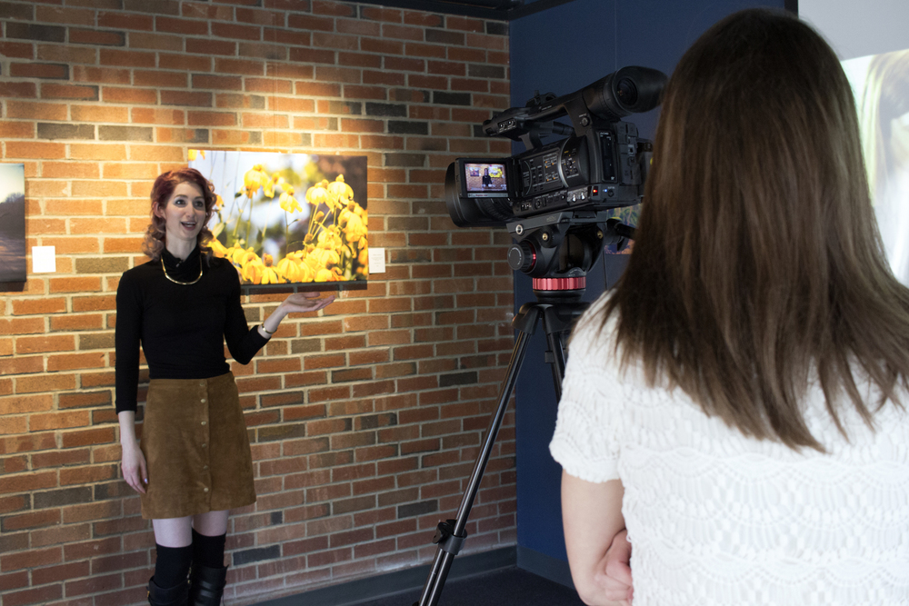 Geena Matuson is interviewed by Medfield TV at the reception of her solo art show, April 29, 2016.