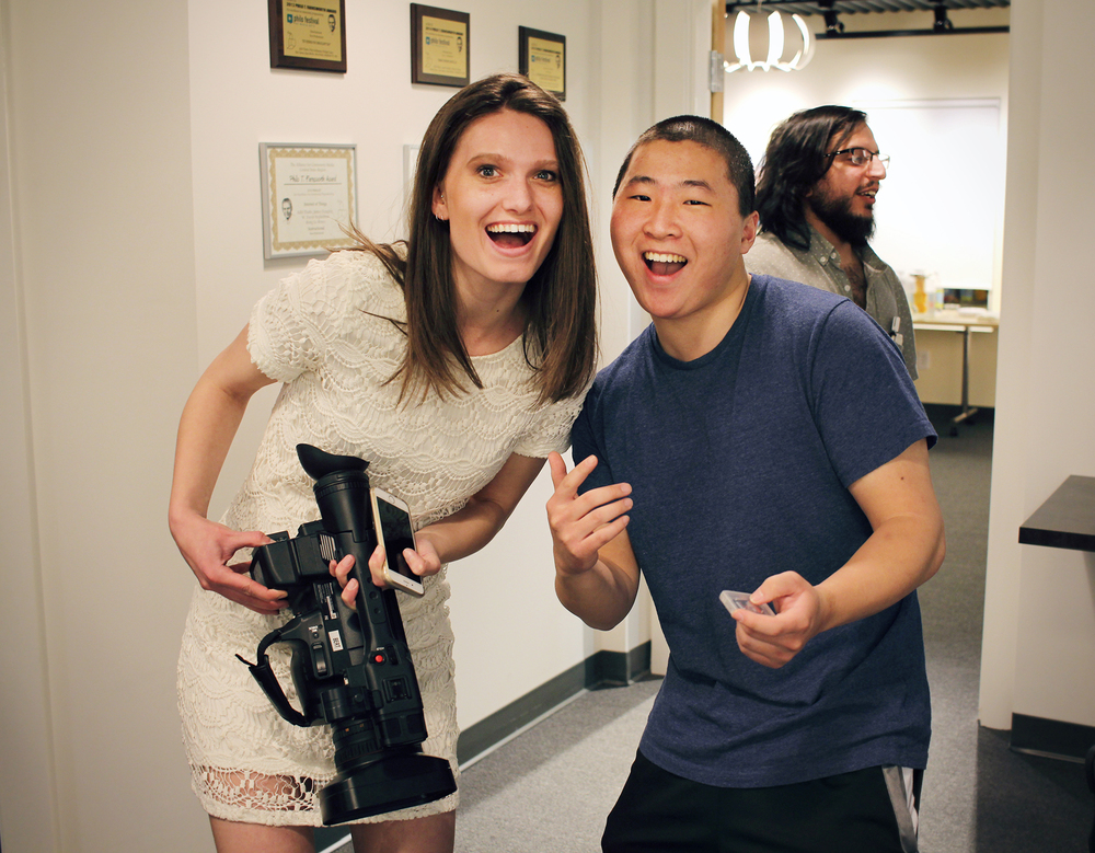 Alex James and Sam Merlin of Medfield TV pose for a quick shot amidst filming Geena Matuson's reception, April, 2016.