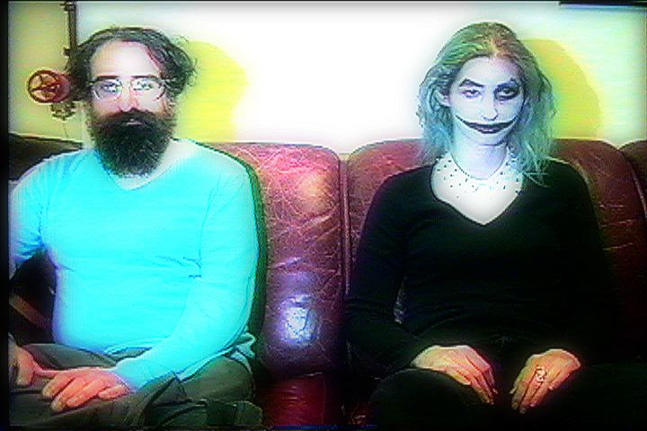 Michael J. Epstein and Geena Matuson in Reel Groovy Films' short video EVIL CLOWN EVIL, 2016.