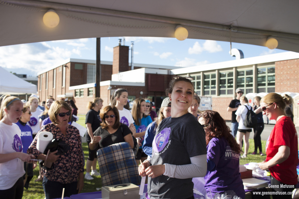 Event coordinator Louise Fonteyne at Relay for Life in Medway, MA 2016. Photography by Geena Matuson.