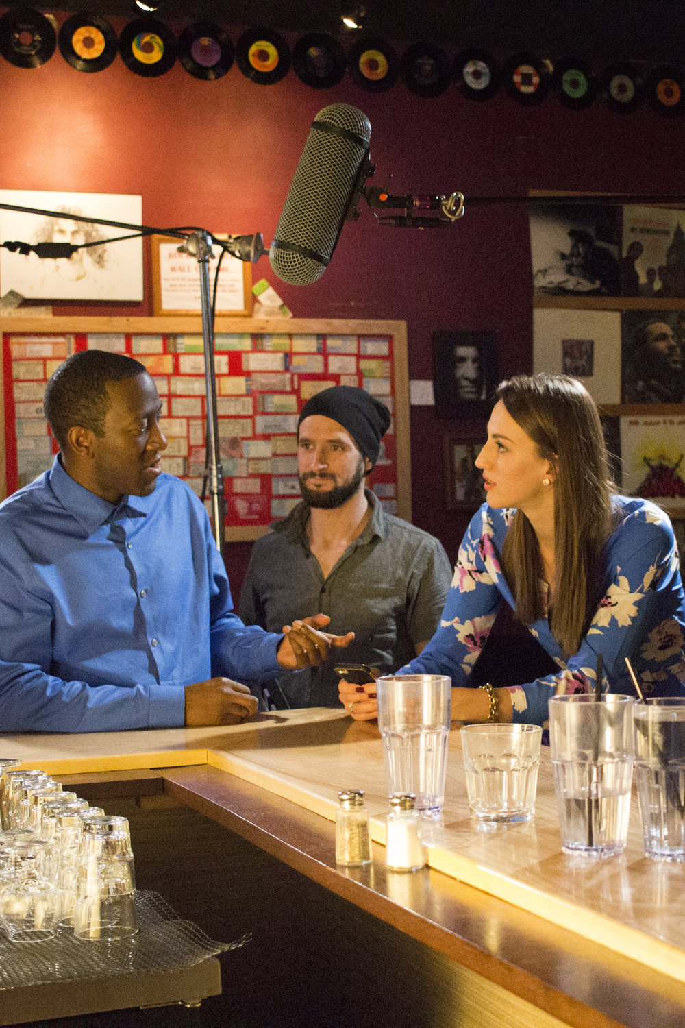 Actors Jamaal Eversley and Samantha Webb with Assistant Camera Dylan Kiely on the set of Geena Matuson's production of 'Fauxmercials' bar ads, September 2016.