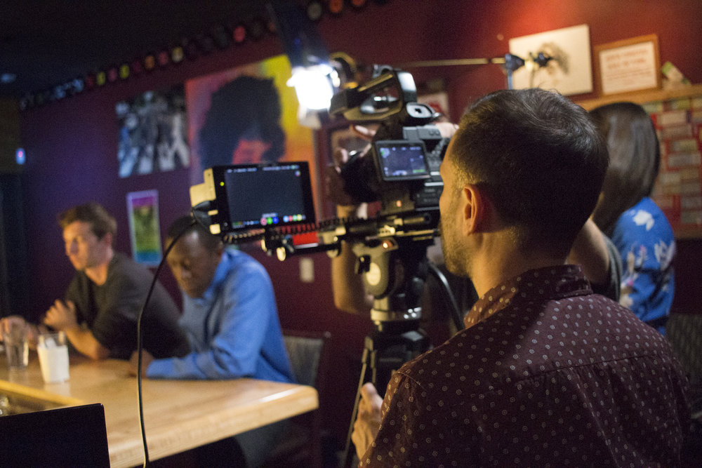 Director of Photography Denez McAdoo on the set of Geena Matuson's production of 'Fauxmercials' bar ads, September 2016.