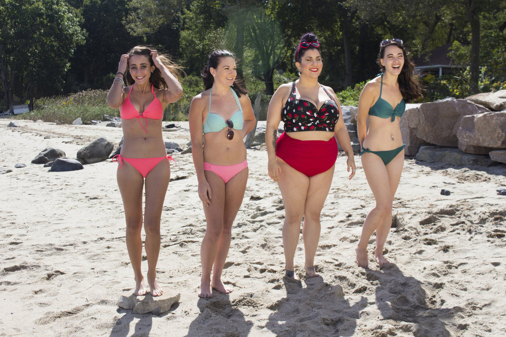 Actors Acei Martin, Catalina Snape, Alessandra Grima and Maya Simone on the set of Geena Matuson's production of 'Fauxmercials' beach ads, September 2016.
