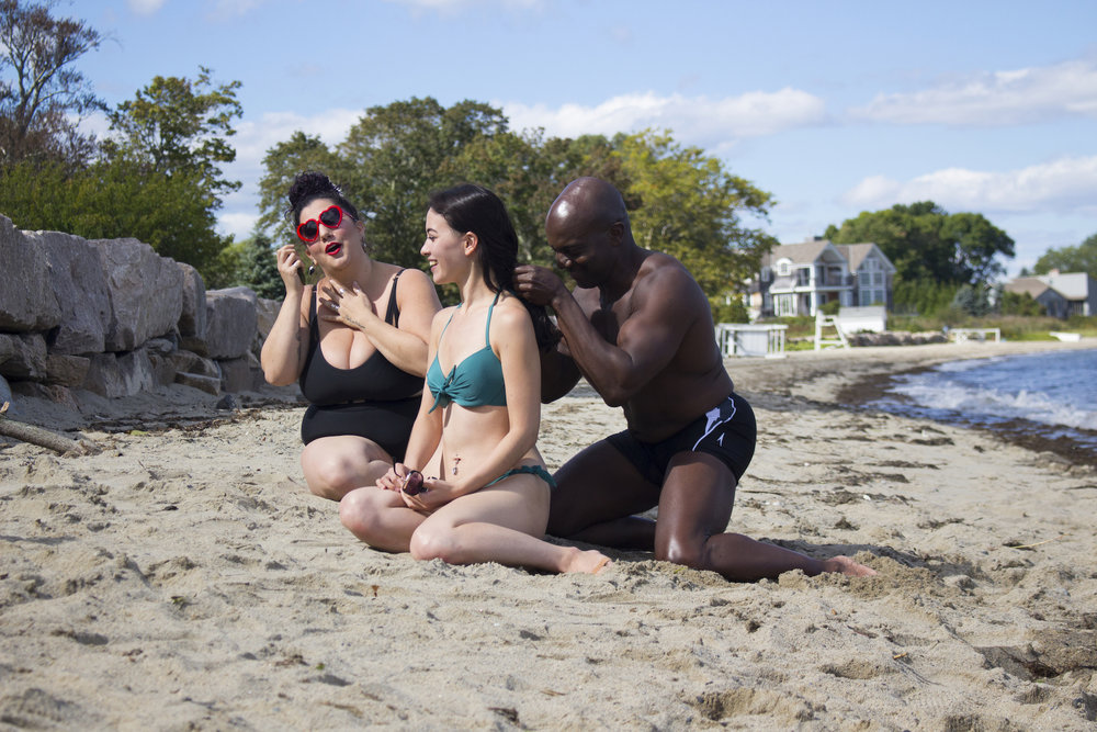 Actors Alessandra Grima, Maya Simone and Kevin O. Peterson on the set of Geena Matuson's production of 'Fauxmercials' beach ads, September 2016.