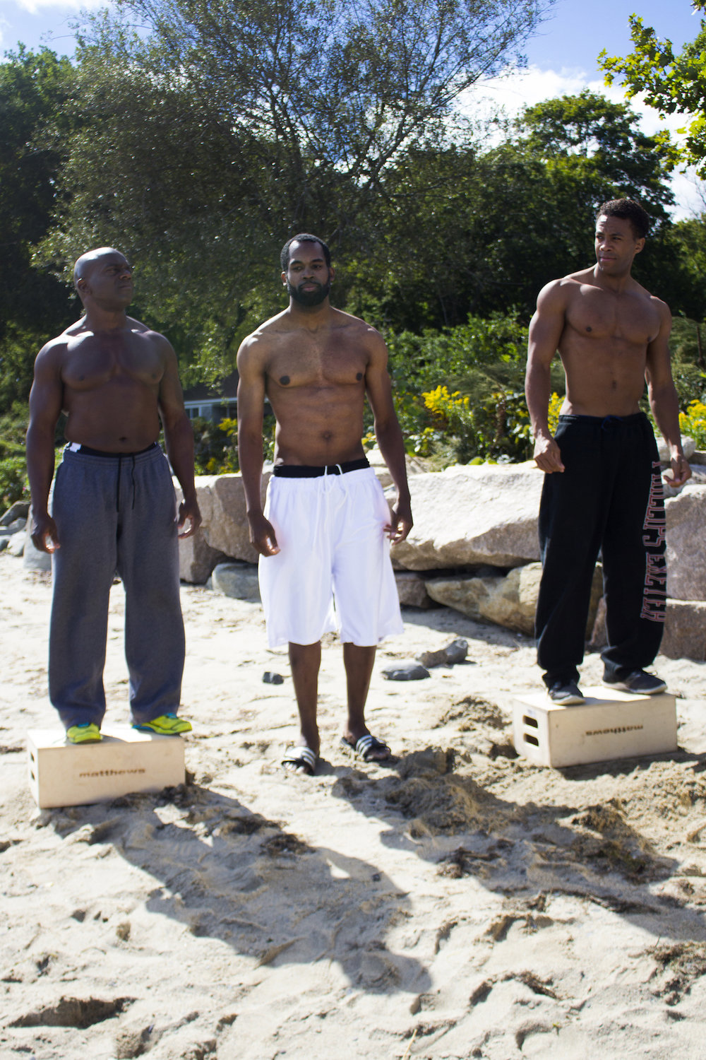 Actors Kevin O. Peterson, Reggie Joseph and Sean Brown on the set of Geena Matuson's production 'Fauxmercials' beach ads, September 2016.