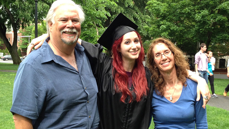 Geena Matuson (@geenamatuson) at age 22 in 2013 with parents Jesse and Leah in New England, USA.