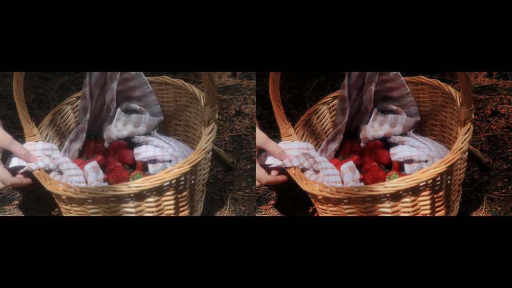 Color grading comparison screenshots from Geena Matuson's (@geenamatuson) short film 'My Big Bad Wolf' (2013).