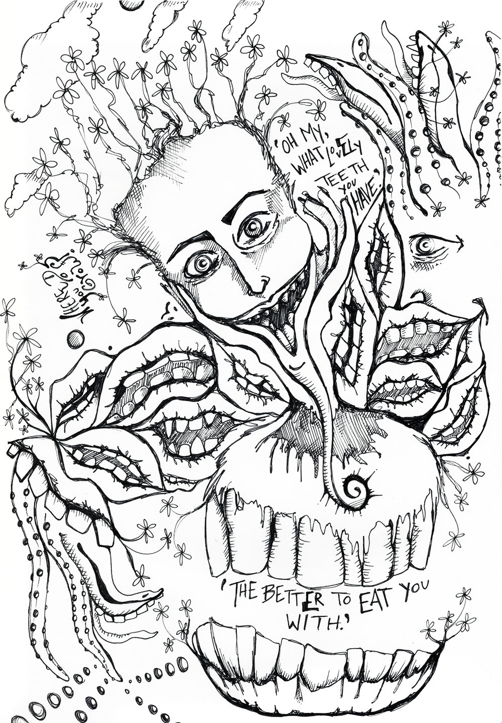 "Teeth  Pen, 9 x 12"" / Geena Matuson @geenamatuson"