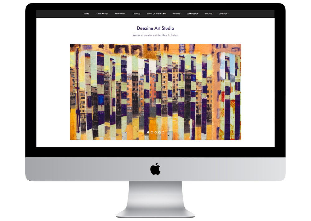 Website 'Deezine Art Studio' for painter Dee Cohen, created by Geena Matuson (@geenamatuson).
