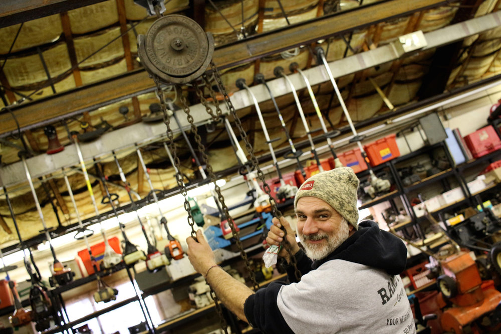 Randy Disinger of Randy's Garage in Medfield, MA. Photo by Geena Matuson.