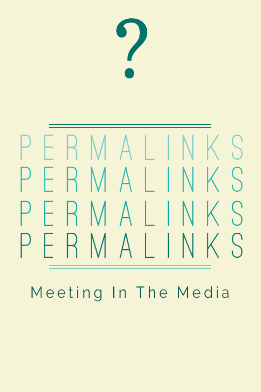 "Permalinks Meeting In The Media ""A permalink is the permanent link URL that is auto-generated when you make a new post on any blog site."""