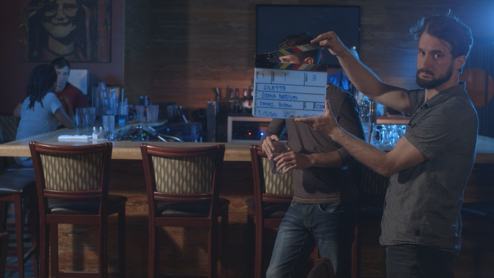 Assistant Camera Dylan Kiely calls the shot for actor Andrew Morais in Geena Matuson's upcoming short 'The Best A Man Can Get' filmed at Rock 'n' Roll Rib Joint in Medfield, MA. Cinematography by Denez McAdoo.