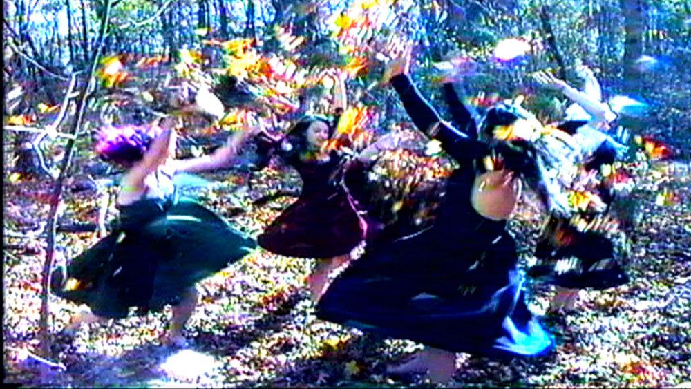 Set of  Reel Groovy Films  shoot featuring witches of Salem mystic dance  Geena Matuson ,  Maya Simone ,  Eve Xastur  and Mima Huntington, 2016.