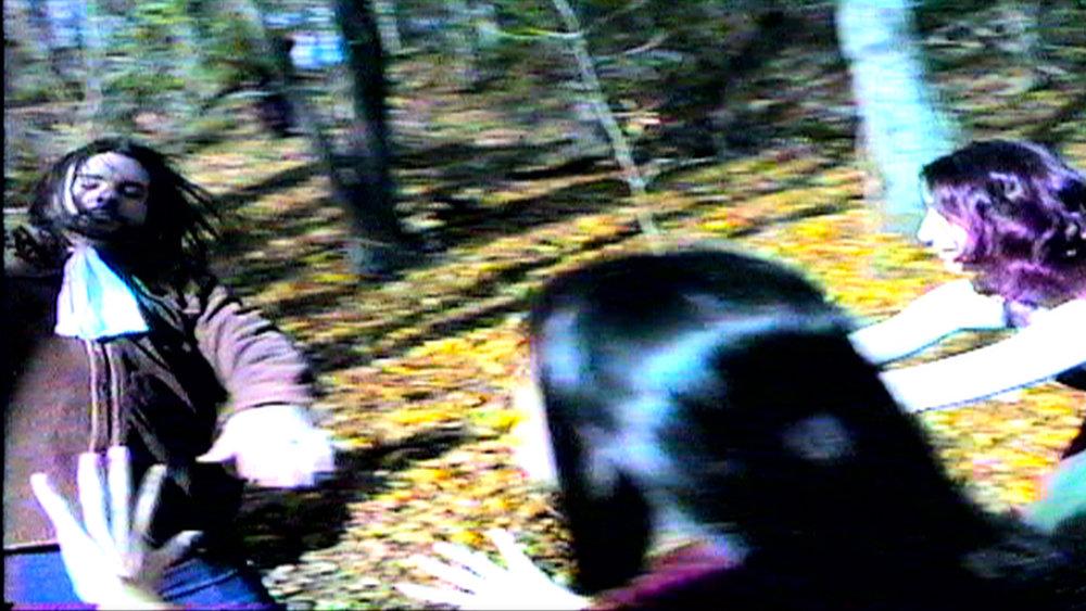 Set of  Reel Groovy Films  shoot featuring witches of Salem  Geena Matuson  and  Maya Simone , enchanting the poor pilgrim villager Trevor Hart, 2016.