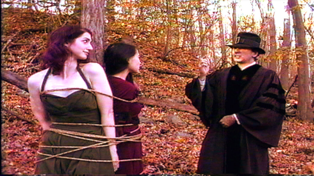 On the set of  Reel Groovy Films  shoot featuring witches of Salem  Geena Matuson  (@geenamatuson) and  Maya Simone  who are offered their 'lost chonce' to confess, or burn. Pilgrims Dawn Nightshade and Caleb bear witness.