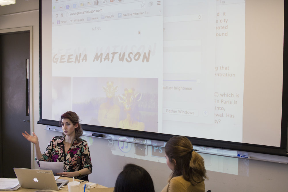 Geena Matuson (@geenamatuson) guest lectures at Massachusetts College of Art & Design as a successful alumna, 2016.