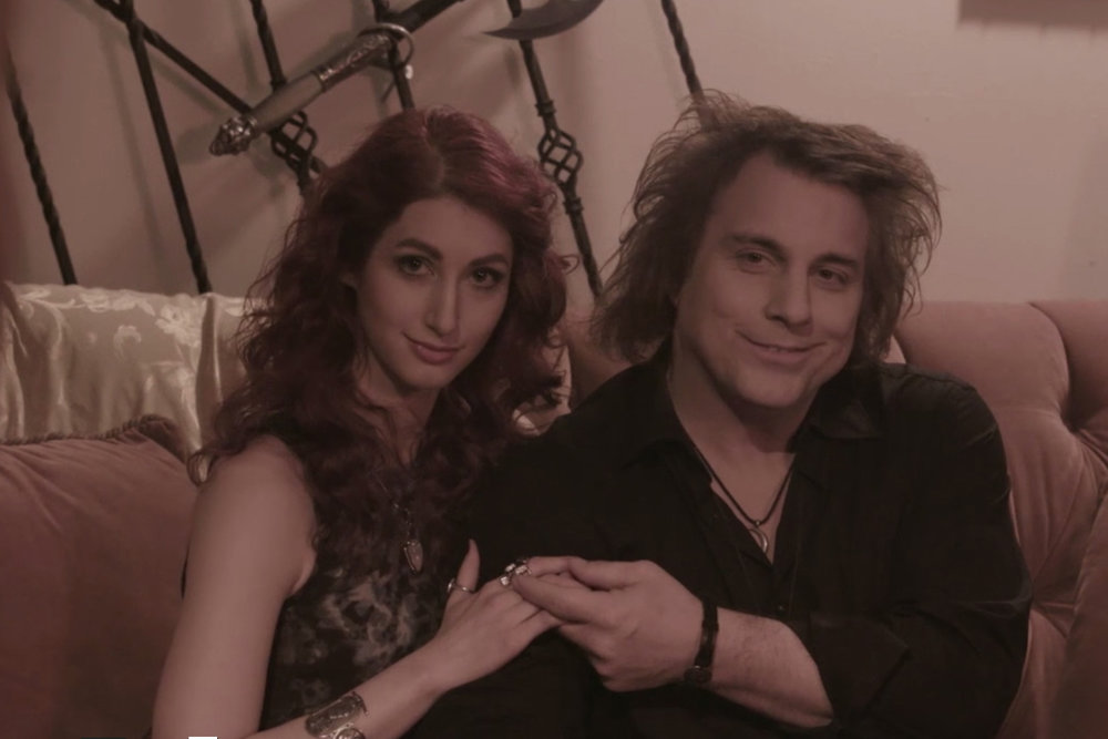 Geena Matuson (@geenamatuson) with musician and actor Scorpio on the set of Mike Messier's 'Disregard The Vampire,' 2014.