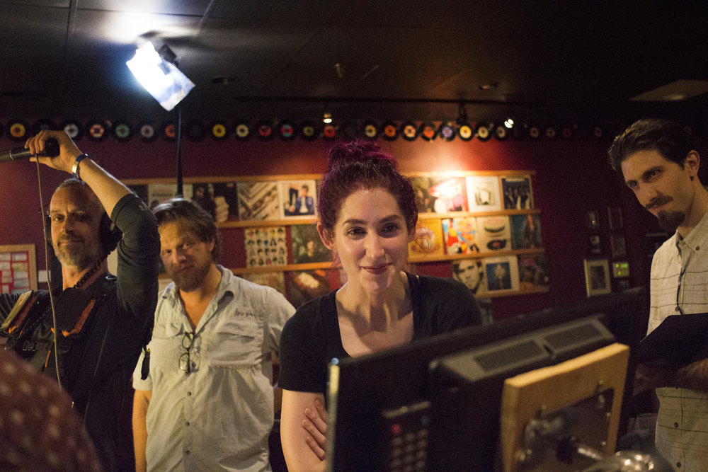 Left to right: Audio Djim Reynolds, Grip/Gaffer Dan Perez de la Garza, Writer, Producer/Director Geena Matuson, Assistant Director Adrian Atwood on the set of Matuson's production of 'Fauxmercials' bar ads, September 2016.