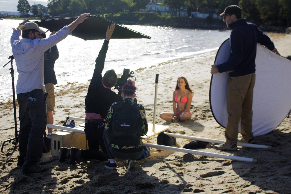The set of Geena Matuson's production of 'Fauxmercials' beach ads, September 2016.