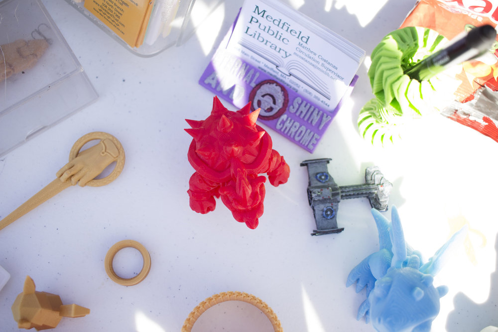 A selection of some 3D-printed creatures as an example of what you can make with the printer, available at the town library.