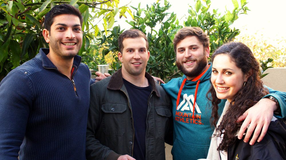 Awesome and attractive Shorashim group members in backyard of Nir's family home, celebrating the second night of Hanukkah together, 2016.