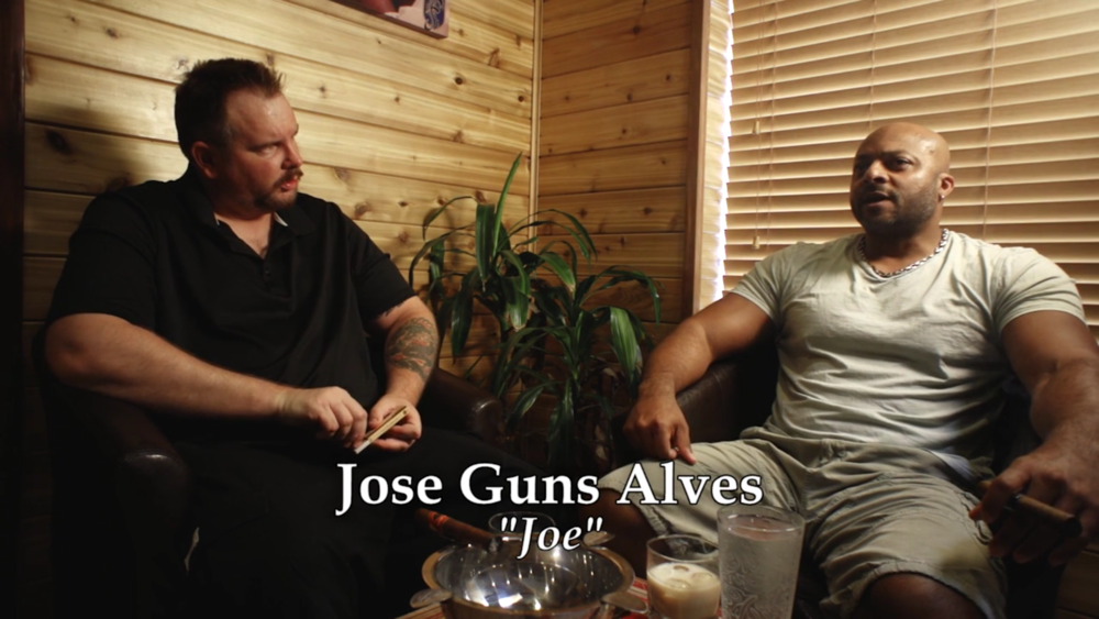 Director Mike Messier with Jose Gonsalves as 'Joe' during an interview for 'Disregard The Vampire,' a narrative-turned-documentary set to release in 2017.