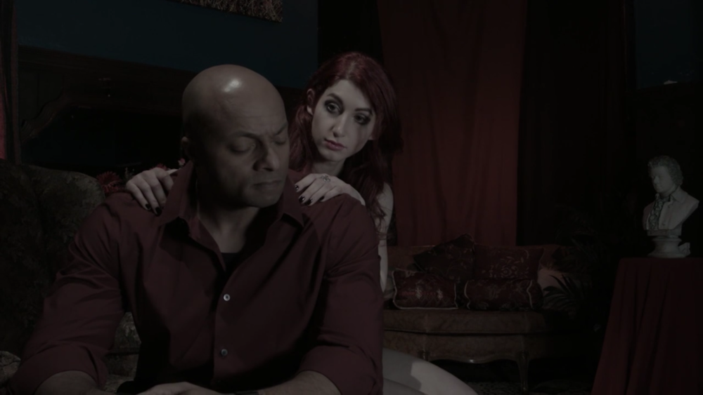 Jose Gonsalves as 'Joe' and Geena Matuson as 'Valentine' on the set of Mike Messier's 'Disregard The Vampire,' a narrative-turned-documentary set to release in 2017.