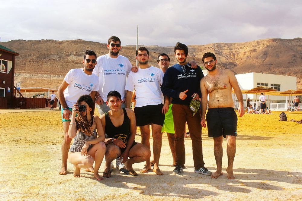Tunisian Birthright Israel group at the Dead Sea, December 2016.