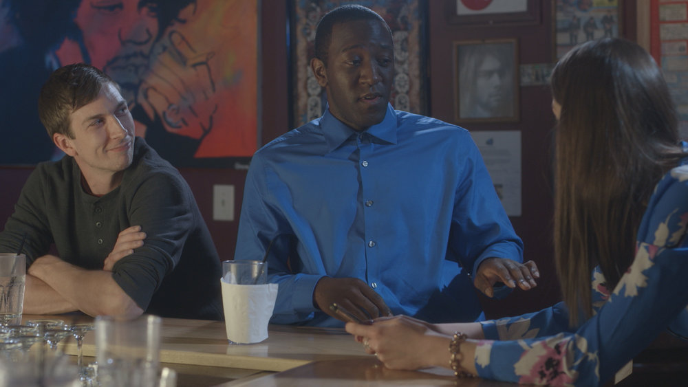 Chris Fisher, Jamaal Eversley and Samantha Webb in Geena Matuson's (@geenamatuson) short 'Depends,' filmed at Rock 'n' Roll Rib Joint in Medfield, MA. Cinematography by Denez McAdoo.