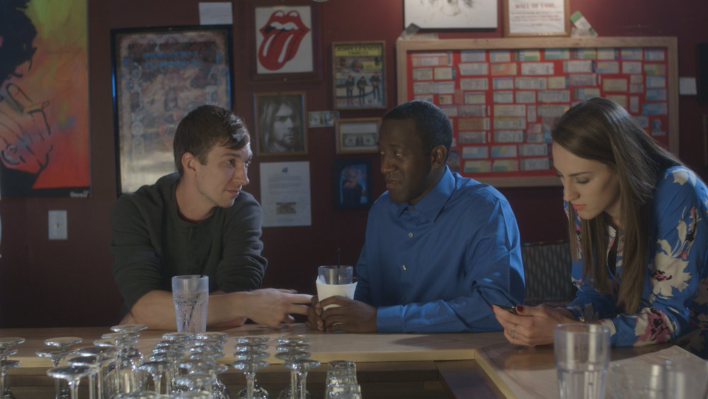 Chris Fisher, Jamaal Eversley and Samantha Webb in Geena Matuson's short 'Depends,' filmed at Rock 'n' Roll Rib Joint in Medfield, MA. Cinematography by Denez McAdoo.