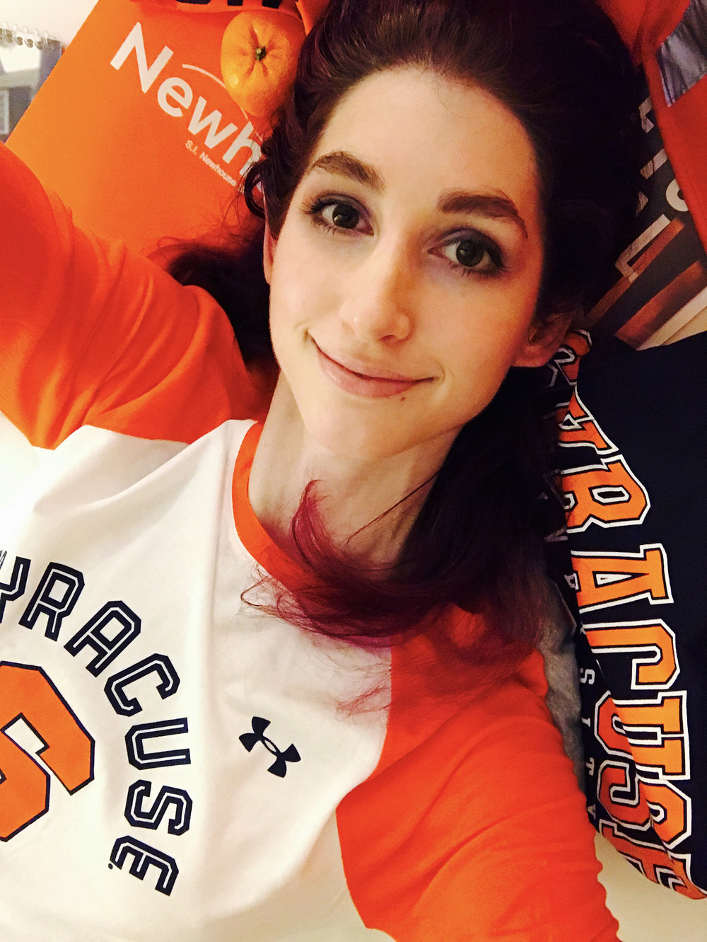 """I'm so excited to get my Masters in Arts Journalism at Syracuse University Newhouse School! I clearly went overboard on the branded swag - but totally worth it!"""