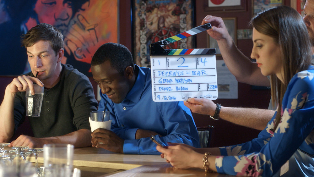 Chris Fisher, Jamaal Eversley and Samantha Webb prepare for slates with help of Grip/Electric Dan Perez de la Garza in Geena Matuson's short 'Depends,' 2017. See more from The Girl Mirage #thegirlmirage @geenamatuson.