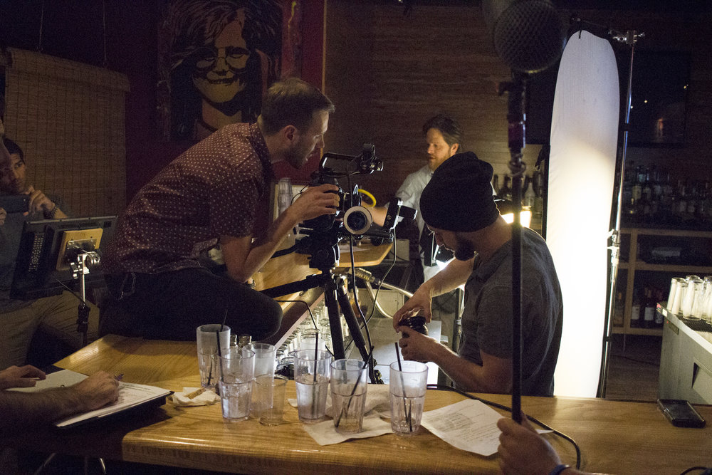 Director of Photography Denez McAdoo with Assistant Camera Dylan Kiely on the set of Geena Matuson's (@geenamatuson) production of 'Fauxmercials' bar ads, September 2016.