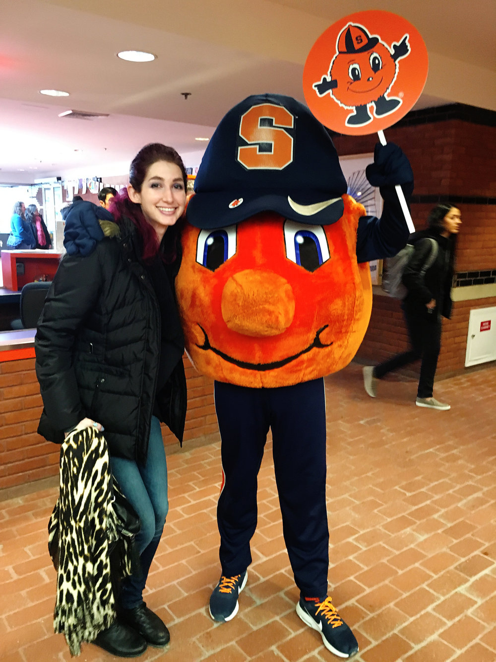 Geena Matuson at Syracuse University just in time for National Orange Day, March 2017.