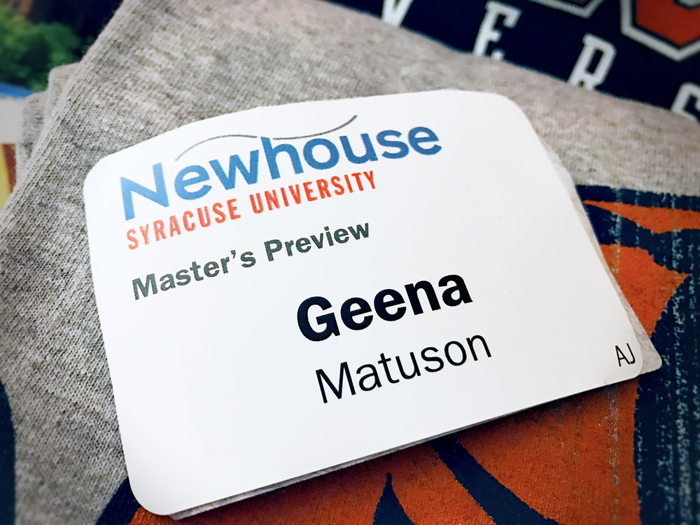 Geena Matuson at Syracuse University Newhouse Masters Programs accepted students 'Preview Day', March 2017.