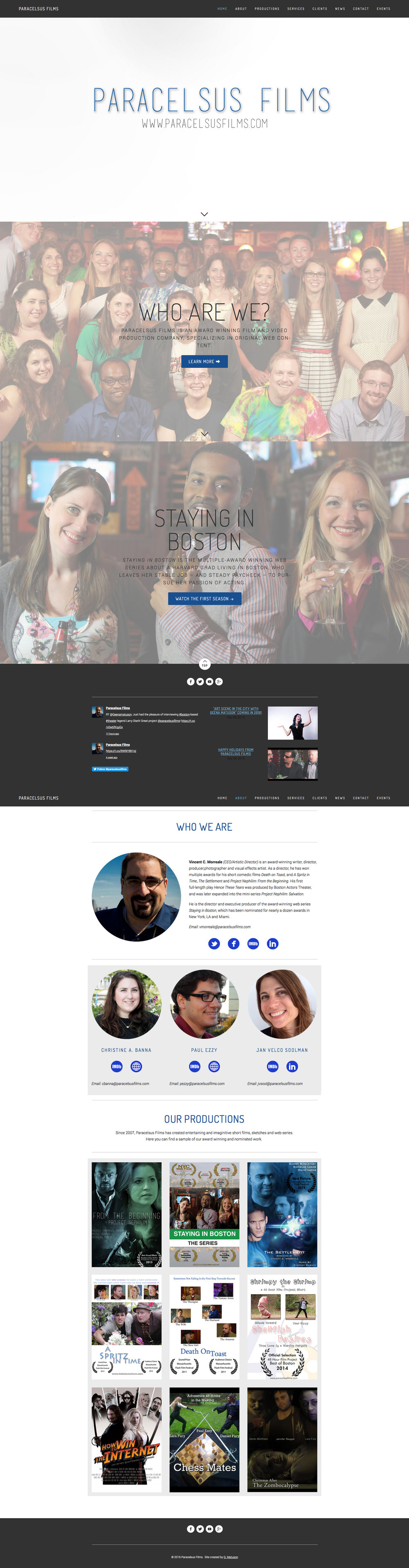 Overview of Paracelsus Films website design by Geena Matuson @geenamatuson #thegirlmirage