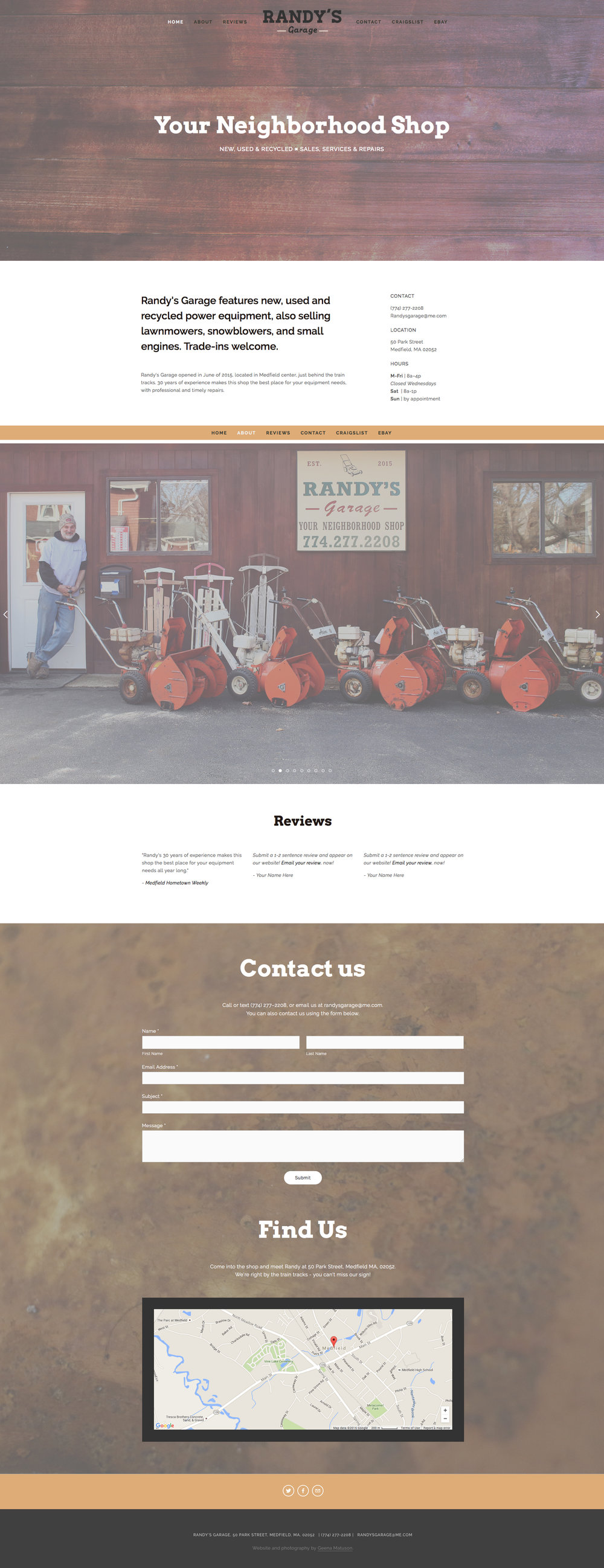 Overview of Randy's Garage website design by Geena Matuson @geenamatuson #thegirlmirage