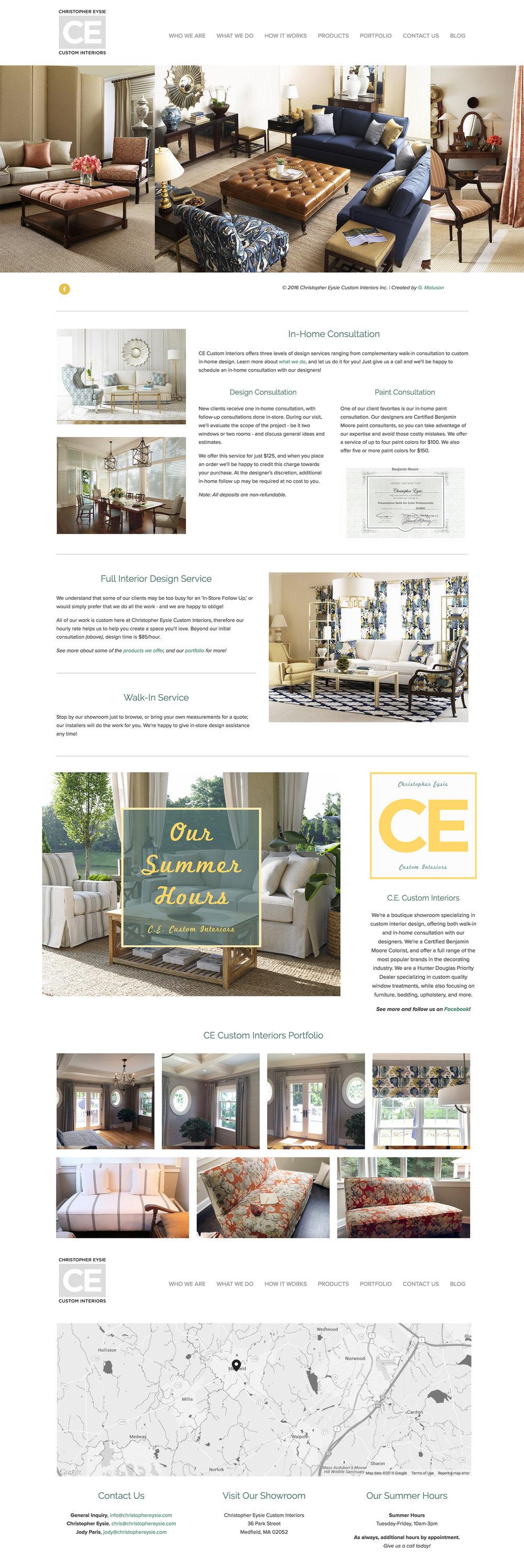 Overview of Christopher Eysie Custom Interiors website designed by Geena Matuson @geenamatuson #thegirlmirage