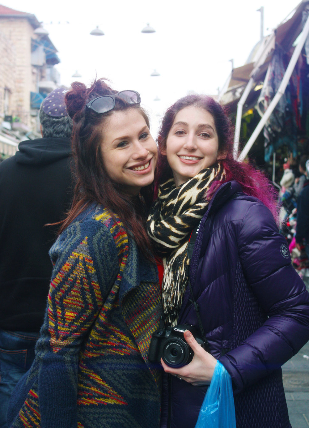 Jessica Gallagher Steuver and Geena Matuson in Jerusalem's Shuk Machane Yehuda, December 2016.