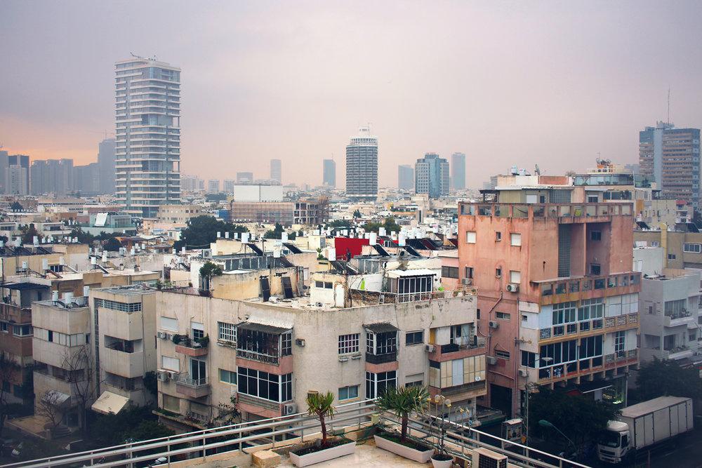 View across Tel-Aviv, taken from the fifth floor of the Deborah Hotel on Ben Yehuda Street.