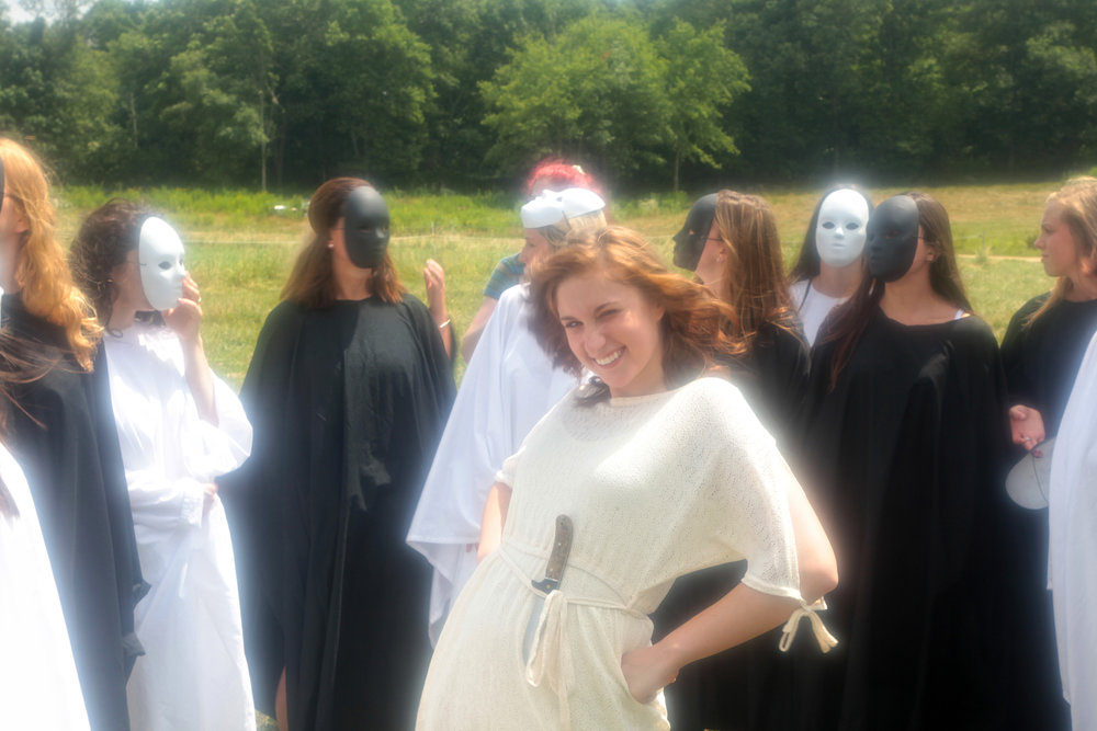 Chelsea Ross Miller preparing for her scene with the 'masked beings' on the set of Geena Matuson's (@geenamatuson) thesis film 'My BIg Bad Wolf', 2013.