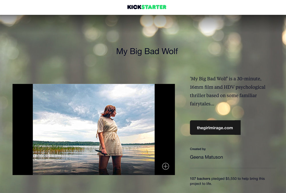 Screenshot of Geena Matuson's (@geenamatuson) successful Kickstarter campaign for thesis film My Big Bad Wolf, 2013.